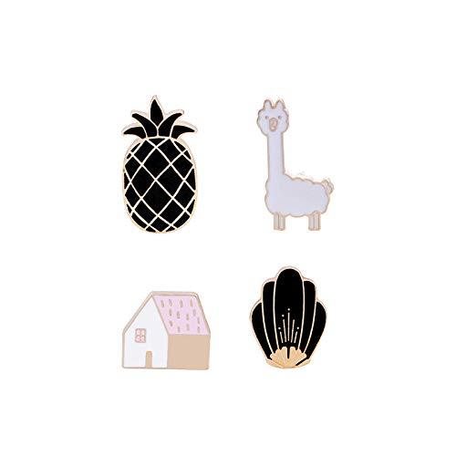 Relovsk Broche de Dibujos Animados Animales Pin de Esmalte Conjunto Conejo Malvado Pájaro Abeja Iconos de Comida rápida Estilo Insignias de botón para Niños Mujeres Joyería-4PCS_Animales