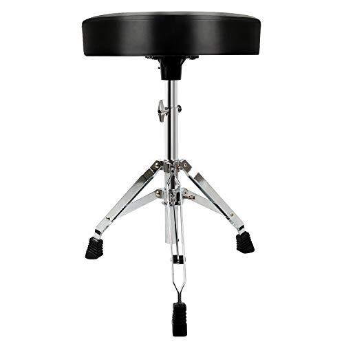 EastRock - Trono de tambor universal, asiento de tambor acolchado ajustable en altura, taburetes de batería con pies antideslizantes para adultos y niños (plateado)