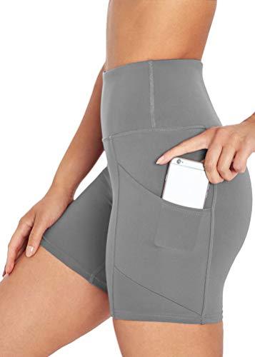 Mippo Womens Bike Shorts with Pockets Yoga Shorts Womens Athletic Shorts Tummy Control Compression Tights High Waist Biker Running Gym Shorts Leggings for Women Dark Gray S