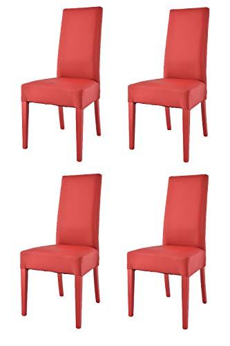 Tommychairs - Set 4 sedie modello Luisa per cucina bar e sala da pranzo, robusta struttura in legno di faggio verniciata rossa, seduta e schienale imbottiti e rivestiti in pelle artificiale rossa