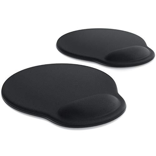 CSL - 2 x Office Komfort Mauspad - ergonomisches Mousepad - mit Schaumstoffkissen als Handballenauflage bequemer als Gelkissen - Entlastung des Handgelenks - rutschfeste Gummi-Unterseite - 2er Set