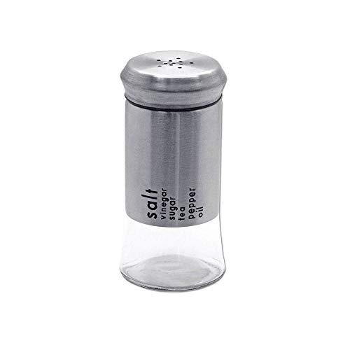 tumundo Acciaio Inossidabile Vetro Salt Saliera Sale Spargipepe Agitatore di Pepe Mulino Spezie Cucina Contenitore 11 cm, Pezzi:1 Pezzo