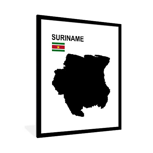 Poster mit Rahmen - Die Grenzen von Suriname sind mit der obigen Flagge dargestellt - fotolijst zwart met witte passe partout 60x80 - 60x80 cm