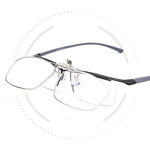 TERAISE Clip On Lesebrille mit Klappfunktion Vollformat-Metallbrille mit Clip-Funktion Entwickelt für Myopieleser für Männer und Frauen HD-Objektiv Tragbare Brillenetui(3.0X)