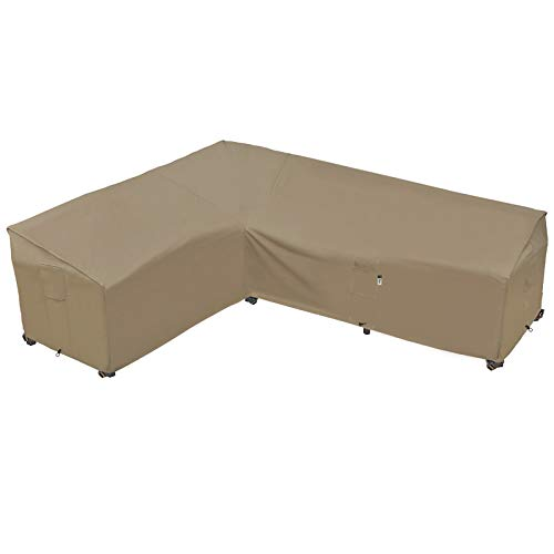 Garden Furniture Cover, Heavy Duty Patio Furniture Covers Waterproof 600D Oxford Sectional Couch Rattan Corner Sofa Table Chair Protection, L Shaped Lawn Winter Protector, 268 x 216CM - Desert Khaki