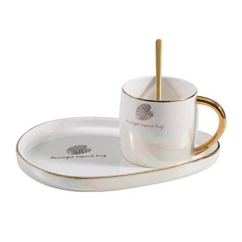 XYJ Conjunto de Taza de café con Utensilios de Borde Dorado con Cuchara de Acero Inoxidable Bandería Bandeja Taza de Leche de Desayuno Adecuado para Regalos de la Oficina en casa para los Amantes del
