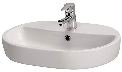 VBChome Moduo- Kollektion Caspia Oval 60 59,5 cm x 42 cm x 10,5 cm Waschbecken Keramik Waschtisch Handwaschbecken Design Aufsatz-Waschschale FÜR BADEZIMMER GÄSTE WC