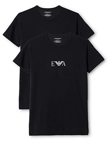 Emporio Armani, T-Shirt Uomo, set da 2 pezzi, Nero, L