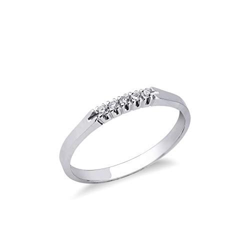Gioielli di Valenza - Anello Veretta a 5 pietre in Oro bianco 18k con Diamanti ct. 0,05 - FE5RA005BB - 12