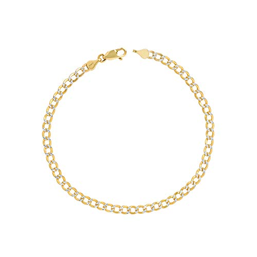 Nuragold 10k Yellow Gold 3.5mm Cuban Chain Curb Link Diamond Cut Pave Two Tone Bracelet or Anklet, Womens Mens Lobster Lock 7' 7.5' 8' 8.5' 9'