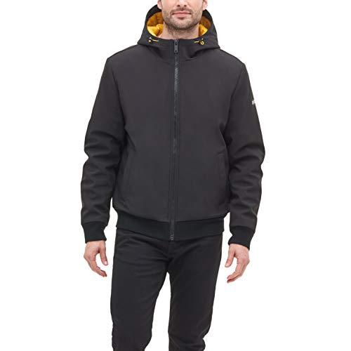DKNY Men's Softshell Hooded Bomber Jacket, black, Medium