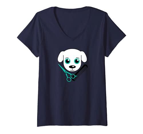 Mujer Tijeras de peluquería para perros con logotipo Camiseta Cuello V