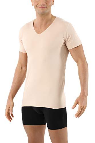 Albert Kreuz Herren Lasercut nahtlos Clean Cut Unterhemd Kurzarm V-Ausschnitt aus Baumwolle Elastan unsichtbar - Hautfarbe 8/XXL