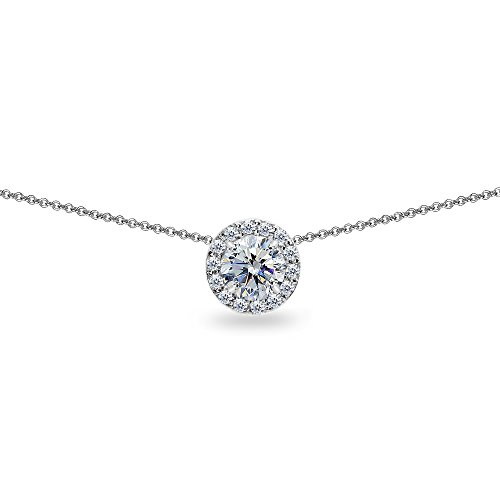 Sterling Silver Clear Round Halo Slide Choker Necklace Made with Swarovski Crystals