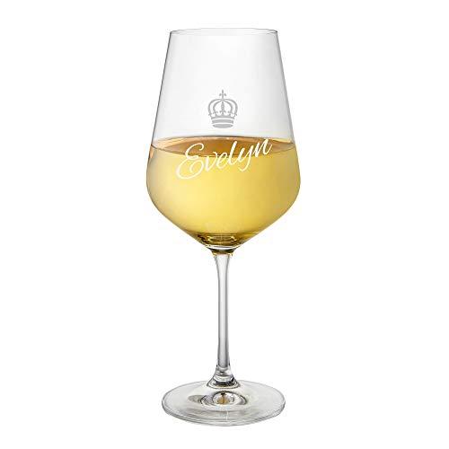 AMAVEL Weißweinglas mit Gravur und Kronen-Motiv, Königin, Personalisiert mit Name, Geschenkidee für Weinliebhaber, Füllmenge: ca. 500 ml