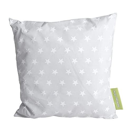 my-teepee, Coussin déco pour Enfant, Gris avec des étoiles Blanches, extérieur 100% Coton, 40 x 40 cm