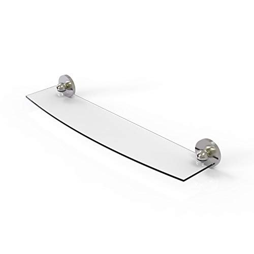 Allied Brass P1033/24 Prestige Skyline Collection 24 Inch Glass Shelf, Satin Nickel