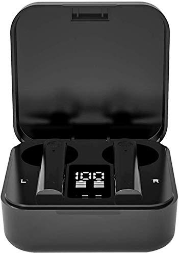 KEEBON Wireless Headphones, True Wireless Auricolari con Display LCD Digitale Ricarica Caso, Le Cuffie Bluetooth, Microfono Integrato, Auricolari Senza Fili - Nero (Colore : Black)