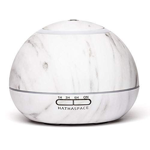 Cheapest Price! Hathaspace Marble Essential Oil Aroma Diffuser, 350ml Aromatherapy Fragrance Diffuse...