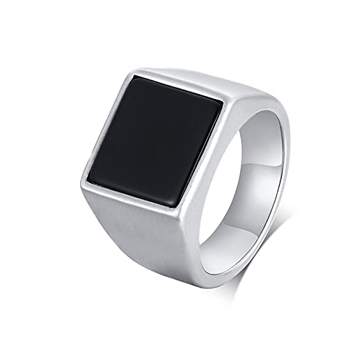 Socoz Anillo para hombre de acero inoxidable con gema, anillo para hombre, plata para boda Plata y negro.