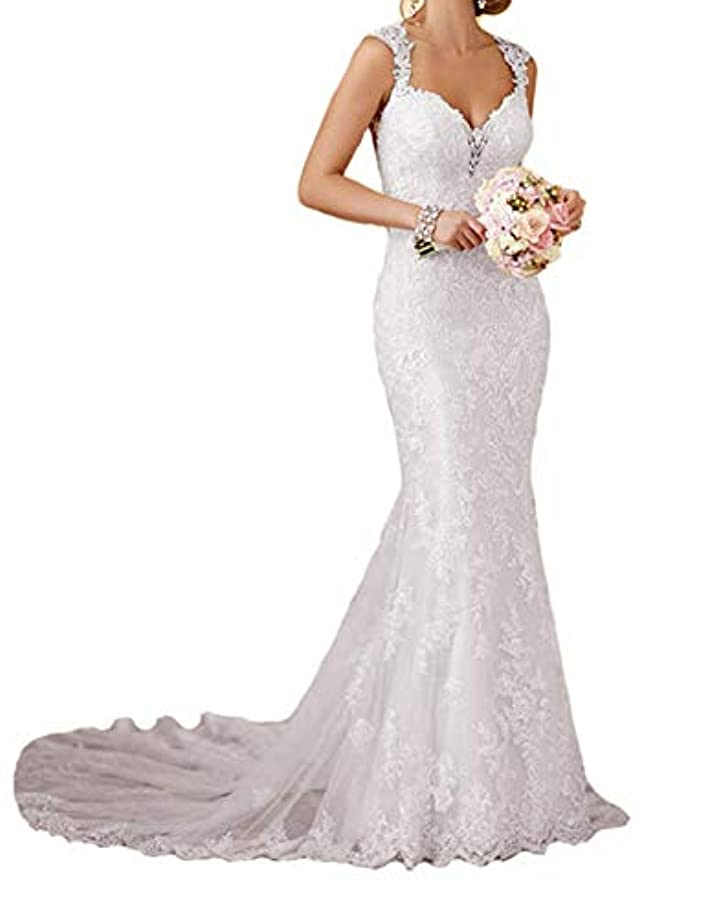 RYANTH Womens Long Lace Wedding Dresses for Bride 2019 Mermaid Sweetheart Bridal Gown R24
