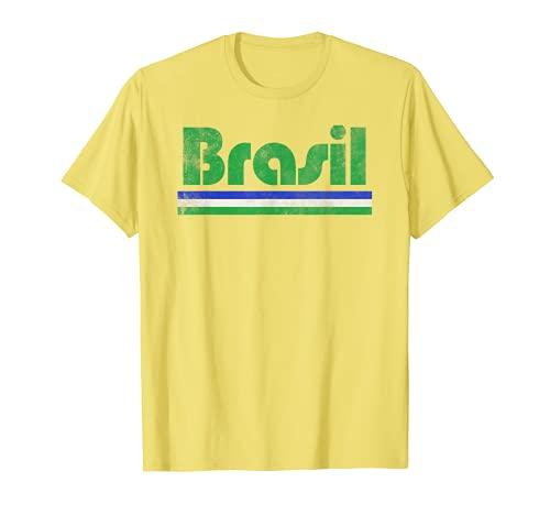 2020 Brasil Brasil Fan Retro Vintage Bandera Camiseta Camiseta