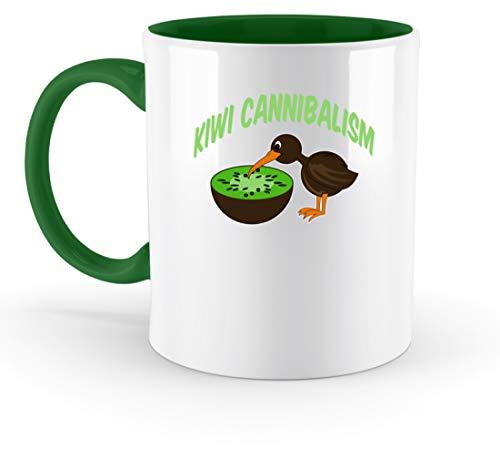 SPIRITSHIRTSHOP Kiwi Cannibalism - Kiwifrucht und Kiwivogel - Zweifarbige Tasse -330ml-Irish Green