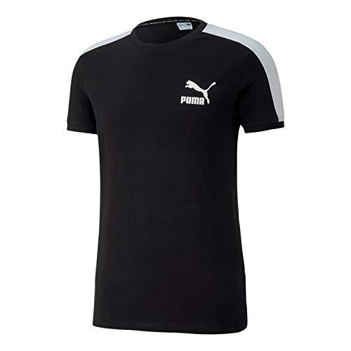 PUMA Camiseta Essentials No. 1 para hombre (Puma Negro Blanco, Pequeña)