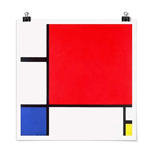 Bilderwelten Poster Piet Mondrian - Komposition Rot Blau Gelb Quadrat, Matt 30 x 30cm
