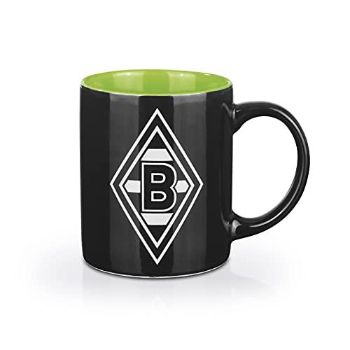 Borussia Mönchengladbach Kaffeebecher   Spülmaschinen- und mikrowellengeeignet   350 ml Fassungsvermögen [schwarz/weiß/grün mit Logo]