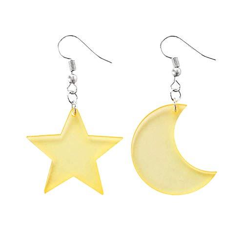 Katigan Stern Mond Transparente Asymmetrische Ohrringe SüüEr FüNfeckiger Stern Asymmetrischer Ohr Hake