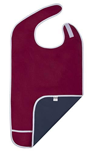Adult Bib for Eating, Waterproof Clothing Protector with Crumb Catcher. Machine Washable (red)