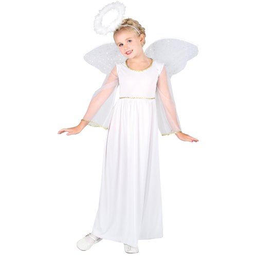 Heavenly Angel with Wings and Halo - Kids Costume 5 - 7 years