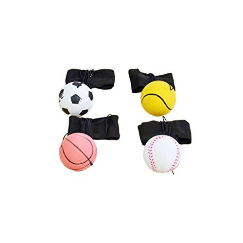 TOYANDONA Bola de Retorno de 4 Piezas con Correa para La Muñeca Juguetes para Lanzar Bolas Muñequera Pelota Muñequera Bolas de Ventilación Pulsera Elástica Pelota para Niños (Patrón