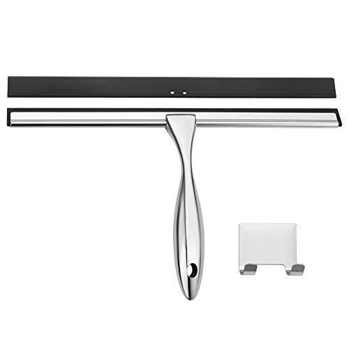 AmazerBath Shower Squeegee, Stainless Steel Glass Window Squeegee with Detachable 12 Inch Blade 6.4 Inch Longer Handle for Shower Doors Windows Kitchen Mirror Car Glass - 1 PC Extra Blade Included
