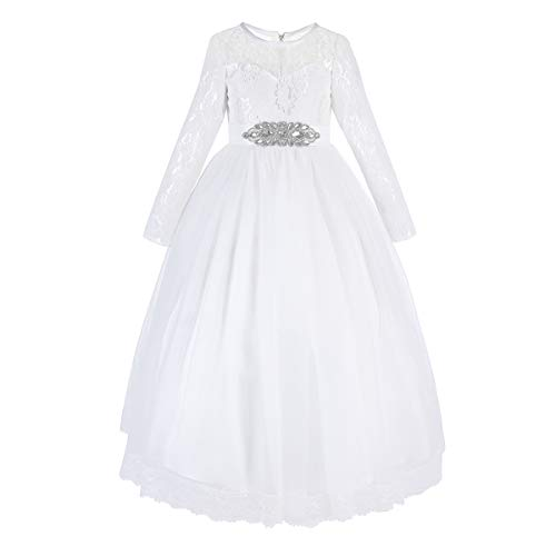 Flower Girl Long Princess Dress Vintage Lace Rhinestone Maxi Gown for Kids Wedding Bridesmaid Pageant Formal Party Tulle Dresses Little Big Girls First Communion Birthday Prom Ball Dresses White 13-14