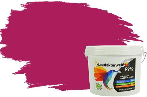 RyFo Colors Bunte Wandfarbe Manufakturweiß Bougainvillearot 3l - weitere Rot Farbtöne und Größen erhältlich, Deckkraft Klasse 1, Nassabrieb Klasse 1