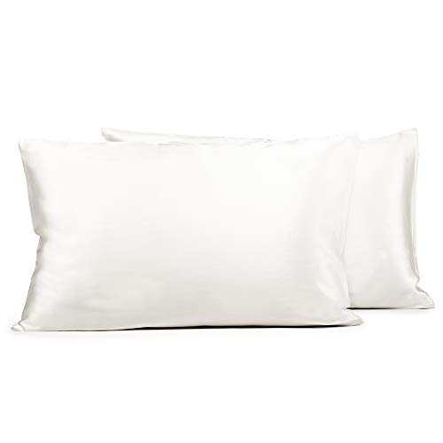 Fishers Finery 25mm 100% Pure Mulberry Silk Pillowcase 2 Pack, Good Housekeeping Winner (White, Standard 2 Pack)