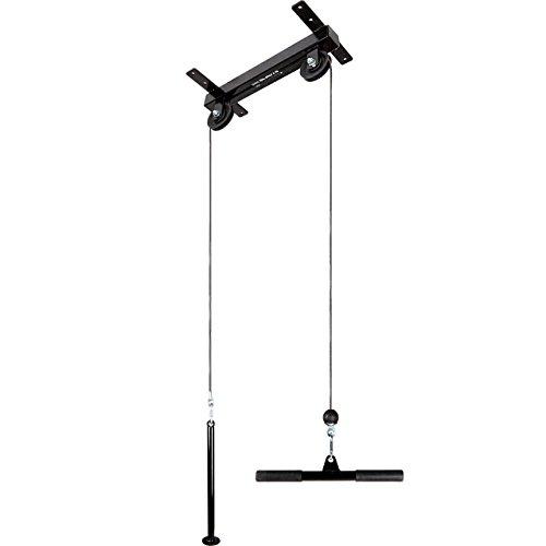 ScSPORTS® Latzug schwarz zur Deckenbefestigung, Kabelzug mit Trizepsstange, stabiles Vierkant Stahlrohr, Seilzug mit variablen Trainingsmöglichkeiten