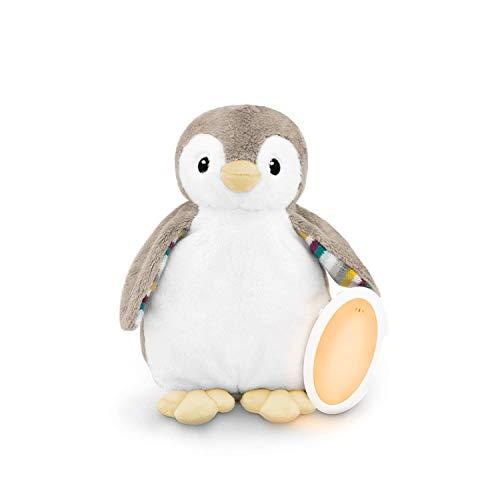Zazu Phoebe El pingüino Chupete para dormir - Máquina de sonido para bebé y Shusher con luz nocturna para bebé, gris