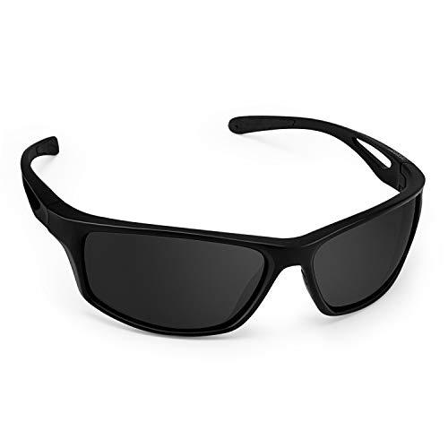 CHEREEKI Gafas De Sol, Polarizadas Deportivas Gafas De Sol con Proteccion UV400 & TR90 Súper Ligero Marco Gafas para La Pesca, el Golf, el Ciclismo (Negro)