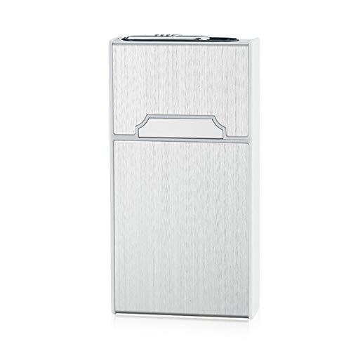 20 * 5.2mm Caja de la Caja de Cigarrillos de Mujer de aleación de Aluminio con Encendedor USB Carga Encendedor de Cigarrillos 115mm * 60mm * 21mm, 1