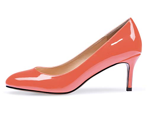 elashe Damen Kitten-Heel Bunt Elegante Pumps Schuhe Orange EU38