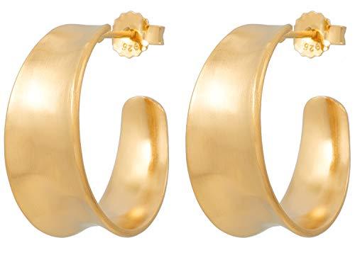 Pernille Croydon Damen Ohrringe Saga Hoops Earrings breite Creolen mit Vertiefung gehämmerte Oberfläche Matt 925 Silber vergoldet Größe 25 mm - E411g