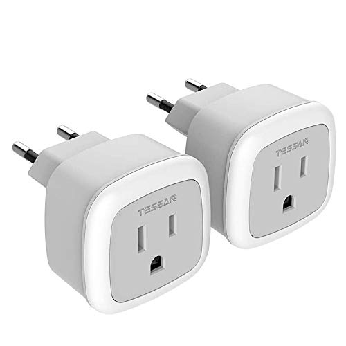 European Travel Plug Adapter, TESSAN International US to The Most Europe Outlet Adapter, Lightweight, Cruise Ship Approve, Wall adaptor for EU Type C Country Such as Spain,Italy,Iceland(2 Pack)