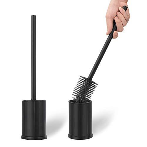 klobürste Schwarz, Silikon Toilettenbürste, WC Bürste, Silikon Toilettenbürste mit Behälter, Edelstahlgriff und Silikon klobürstenkopf (Schwarz)