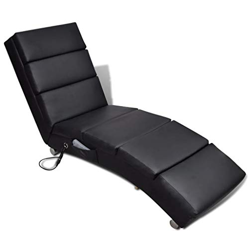 GOTOTOP - Sillón de masaje de piel sintética, color negro, reclinable, silla de masaje, 5 modos de masaje, 51 x 155 x 73 cm