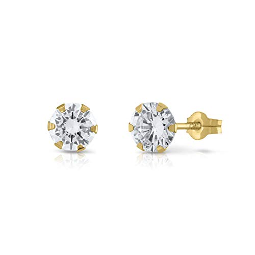 Sterling Gold Certified Earrings, Girls, Women's Quality Snap Closure, 6 mm (4-3351-6)