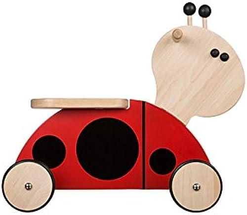 Kinder Rutscher Rutschauto 4 R r  logisch aus Holz 50x50x20cm rot SchwarzRB01