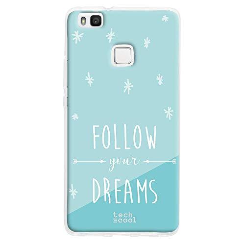 Funnytech Funda Silicona para Huawei P9 Lite [Gel Flexible Resistencia Diseño Exclusivo Alta Definición] Frase Follow Your Dreams Fondo Azul Celeste